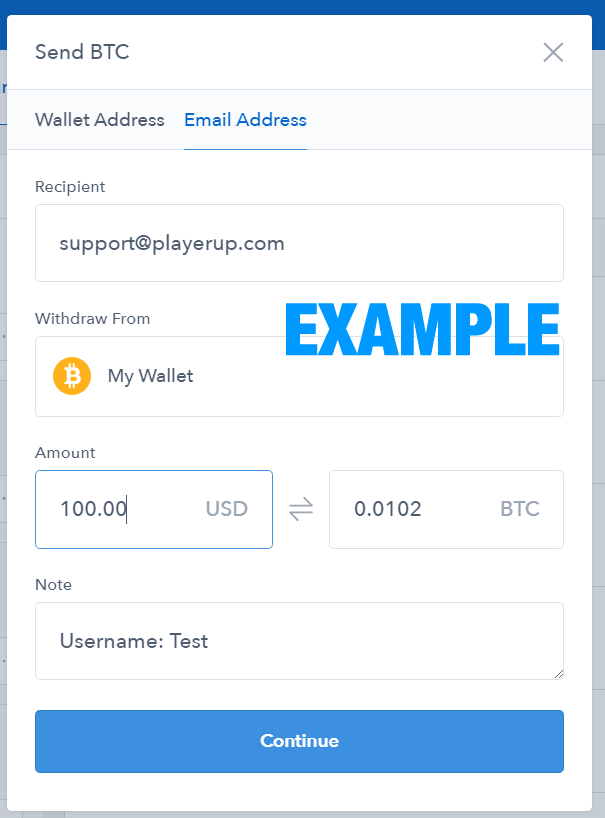 send bitcoin to email address coinbase